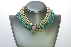 Miriam Haskell 1950andrsquos Pearl Glass Beads Choker Necklace