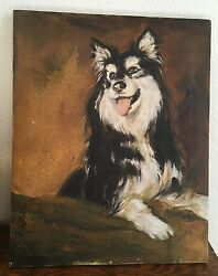 Shetland Sheltie Collie Dog Oil Painting Canvas Signed S D Malmic 1983 20 X 16