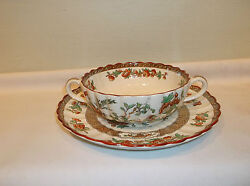 A Spode Copeland India Tree Green And Rust Multicolored Soup/creme Cup And Saucer