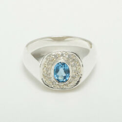 14ct White Gold Natural Blue Topaz And Cz Mens Signet Ring - Sizes N To Z