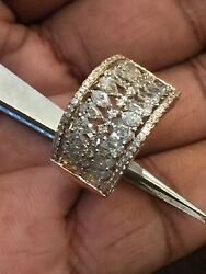 Pave 2.07 Carats Round Pear Cut Natural Diamonds Ring In Solid Hallmark 14k Gold