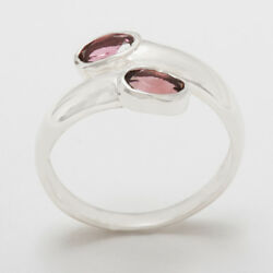 18ct 750 White Gold Natural Pink Tourmaline Womens Band Ring - Sizes J to Z