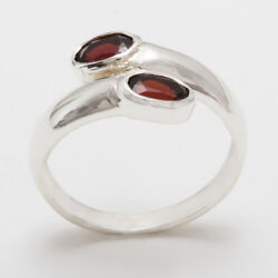 Solid 18ct 750 White Gold Natural Garnet Womens Band Ring - Sizes J to Z