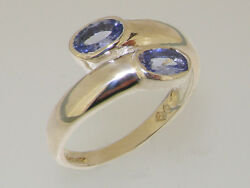 Solid 18ct 750 White Gold Natural Tanzanite Womens Band Ring - Sizes J To Z