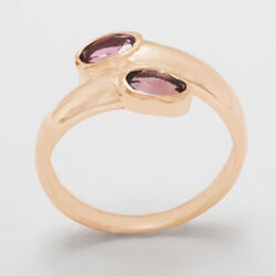 18ct 750 Rose Gold Natural Pink Tourmaline Womens Band Ring - Sizes J to Z