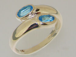 Solid 18ct 750 White Gold Natural Blue Topaz Womens Band Ring - Sizes J to Z