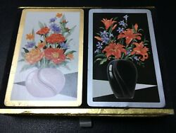 Vtg Conress/u S Playing Card Complete Double Deck In Case - Art Deco Flower Vase