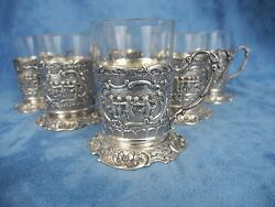 Marshall Fields And Co Set 6 Sterling Silver Demitasse Cups Tea Coffee W/glass