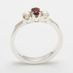18ct 750 White Gold Natural Garnet And Pearl Womens Trilogy Ring - Sizes J To Z