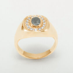 14ct Rose Gold Natural Carved Hematite And Diamond Mens Signet Ring - Sizes N To Z