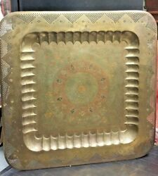Antique Large Size Brass, Copper Tray 45 ×45 Hand Carved And Hand Painted Enamel