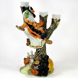 Fitz And Floyd Halloween Harvest - Witch 12.5 Candelabra 3 Taper Candleholder