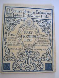 Potterand039s Hints On Embroidery Ladies Clubs Booklet Antique