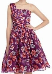 Xl L Pinup Girl Grecian Floral Frock 100 Silk Plum Dress Oasis Clothing Large