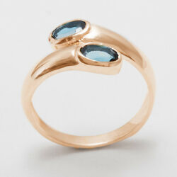 18ct 750 Rose Gold Natural London Blue Topaz Womens Band Ring - Sizes J to Z