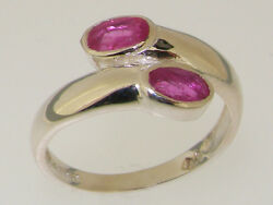 Solid 18ct 750 White Gold Natural Ruby Womens Band Ring - Sizes J to Z