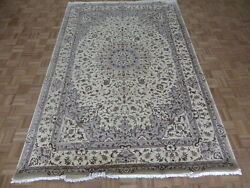 6'8 X 10'1 Hand Knotted Ivory Persian Fine Nain With Silk Oriental Rug G6203