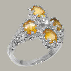 18ct 750 White Gold Cubic Zirconia And Citrine Womens Cluster Ring - Sizes J To Z