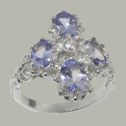 18ct 750 White Gold Cubic Zirconia And Tanzanite Womens Cluster Ring