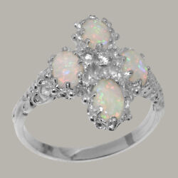18ct 750 White Gold Natural Diamond & Opal Womens Cluster Ring - Sizes J to Z