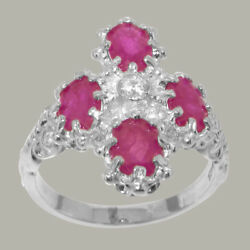 18ct 750 White Gold Natural Diamond & Ruby Womens Cluster Ring - Sizes J to Z