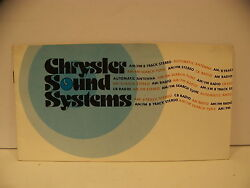 Chrysler Sound Systems Owners Manual Am Fm 8 Track C.b. Dodge Plymouth 78 77 76