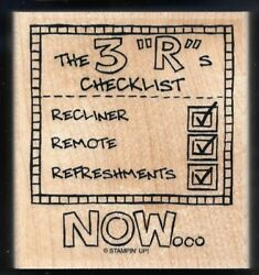 3 Rs Recliner Remote Refreshments Fun Card Words Stampinand039 Up Wood Rubber Stamp