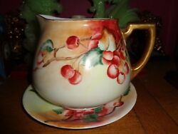 Antique Limoge France Cherries Pitcher And Matching Dish Xlnt. Condition