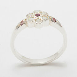 Solid 18ct 750 White Gold Natural Pink Tourmaline And Opal Womens Daisy Ring
