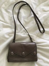 BIMBA & LOLA Mini Grey Taupe Leather Crossbody Purse Bag-NEW no tag $79.00