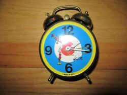 9h/rare Lux Twin Bell Clock/german Fighter Plane/animated/usa/metal/alarm/works