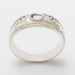 Solid 18ct 750 White Gold Natural Tanzanite Womens Trilogy Ring - Sizes J To Z