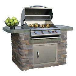 Outdoor Cultured Stone Patio Kitchen Gas Grill Island with 4-Burner Stainless