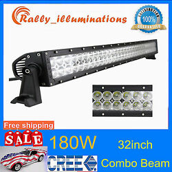 32inch 180w Led Work Light Bar Combo Fits Off Road Truck Boat Tractor Driving