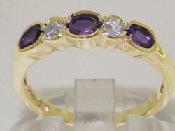 Solid 18ct Yellow Gold Natural Amethyst And Diamond Modern Eternity Band Ring