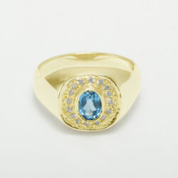 14ct Yellow Gold Natural Blue Topaz And Cz Mens Signet Ring - Sizes N To Z