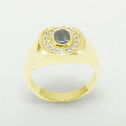 18ct Yellow Gold Natural Carved Hematite And Diamond Mens Signet Ring