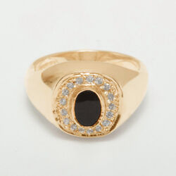 14ct Rose Gold Natural Onyx And Cubic Zirconia Mens Signet Ring - Sizes N To Z
