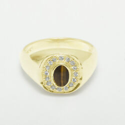 14ct Yellow Gold Natural Tigers Eye And Diamond Mens Signet Ring - Sizes N To Z