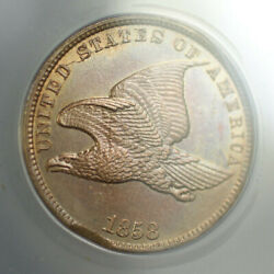 1858 Error Rim Clip + Cuds Small Letters Flying Eagle Cent 1c Anacs Ms-61 Rjs
