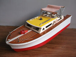 Rare Old Battery Powered Beautiful, Motor Yacht, Made In Japan Working Order.