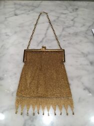 Antique Vtg Art Deco Chain Mail Mesh 10% gold filled  Purse Bag Cell Phone