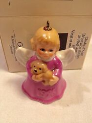 1996 GOEBEL ANGEL BELL CHRISTMAS ORNAMENT - MAGENTA - WITH PUPPY - 21ST ED.