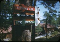 Direction Signs Michaud Trail Summer Cottage To Beach Vintage 1950s Slide Photo