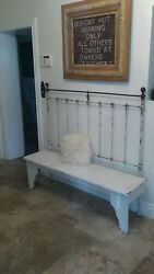 Antique Shabby White Tall Bench Made Out Of Antique Iron Bed Michigan