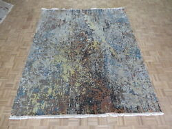 8'1 X 9'9 Hand Knotted Multi Color Modern Abstract Oriental Rug With Silk G6113