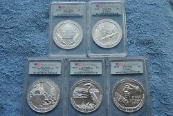 2015 Pcgs America The Beautiful 5 Ounce Silver Set First Strike Sp69
