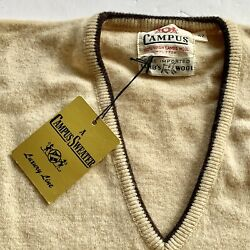 Vintage 1960andrsquos Campus Lambswool V Neck Sweater Nos Unused Rockabilly Mens 42