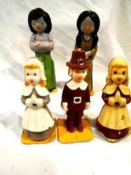 5-vintage Suni Novelty Thanksgiving Candles 3-pilgrims And 2-indians