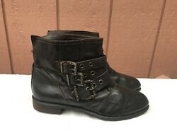 199 Mally Ray Brown Leather Designer Casual Ankle Italy Moto Boots 8.5 Eur 39